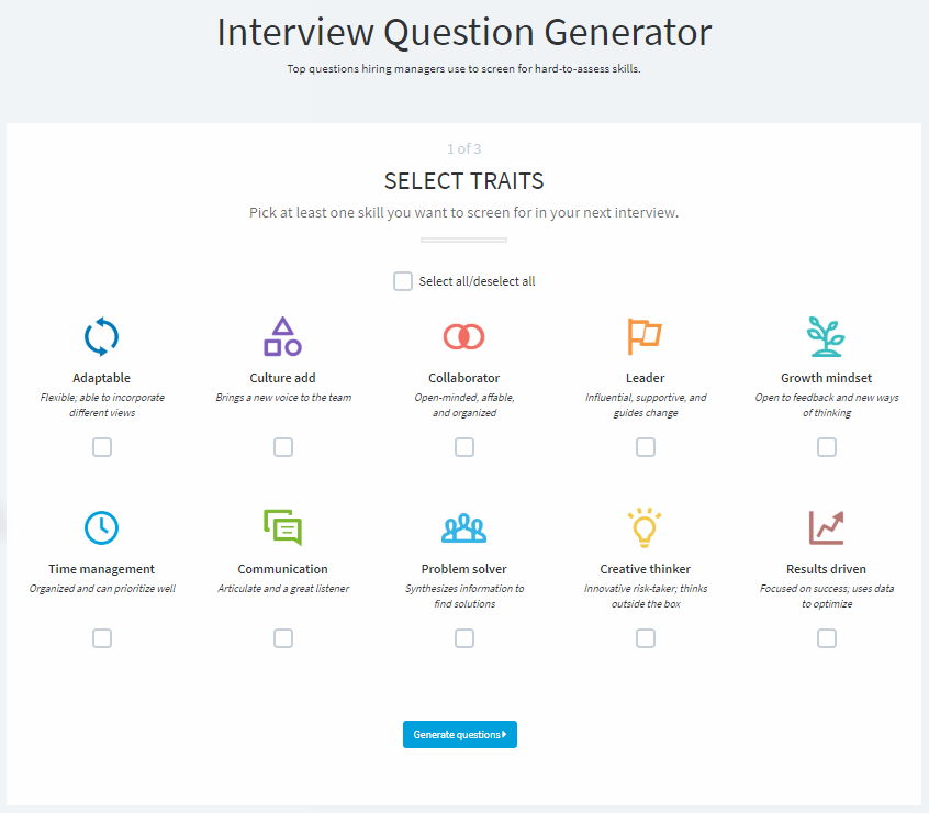 LinkedIn interview question generator