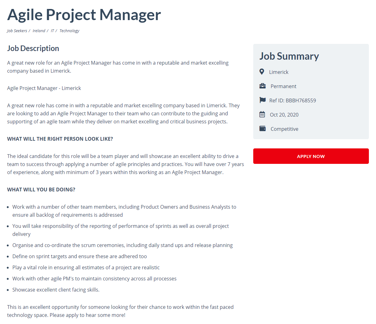 Writing a job advert - Agile Project Manager